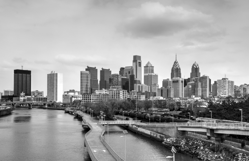 Source https://commons.wikimedia.org/wiki/File:Philadelphia_cityscape_BW_20150328.jpg